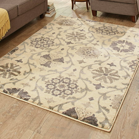 Better Homes And Gardens Cream Floral Vine Olefin Area Rug