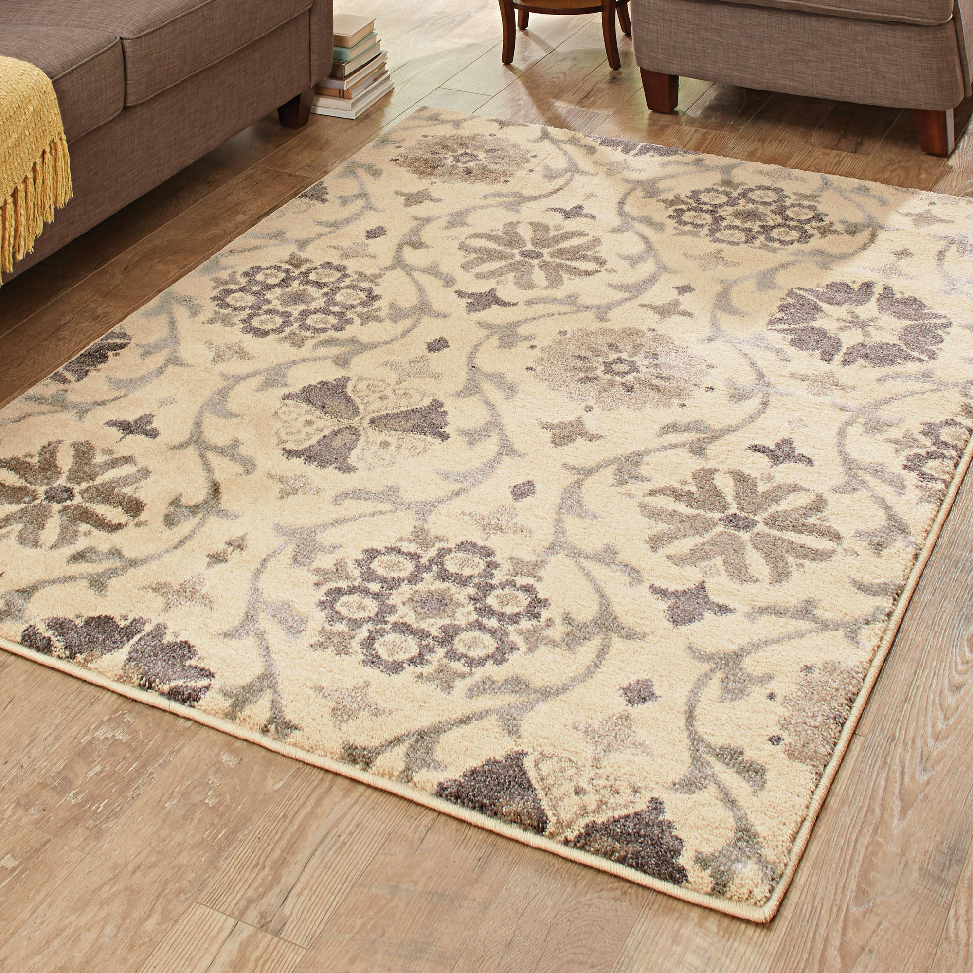 Attractive Better Homes And Gardens Cream Floral Vine Area Rug
