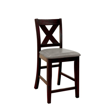 Tremendous Solid Wood Counter Height Chair With X Cross Back Design Pack Of Two Black And Gray Spiritservingveterans Wood Chair Design Ideas Spiritservingveteransorg