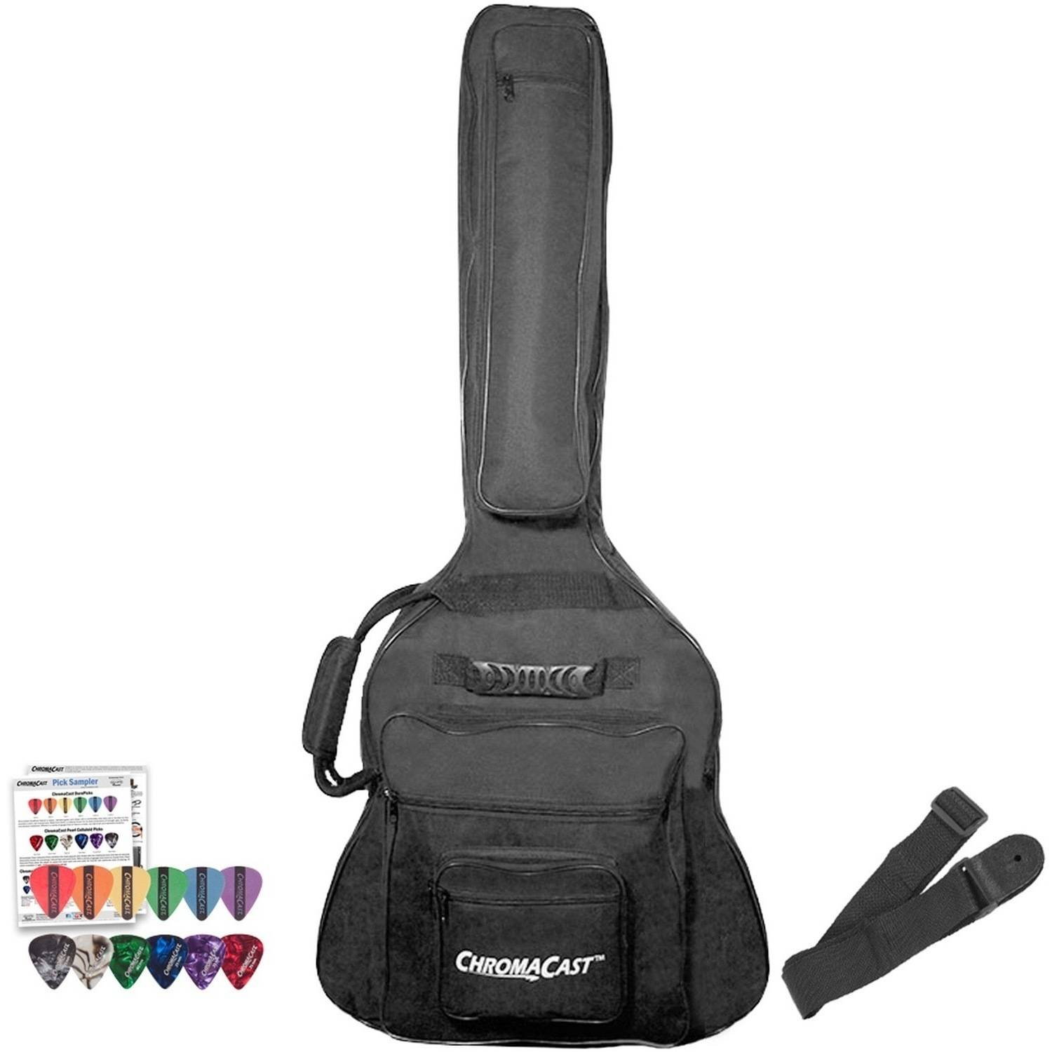ChromaCast Padded Acoustic Jumbo Guitar Gig Bag with Guitar Strap and Pick Sampler