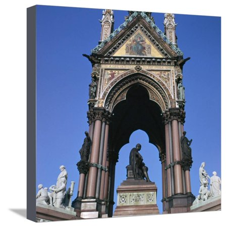 The West Side of the Albert Memorial, 19th Century Stretched Canvas Print Wall Art By CM Dixon