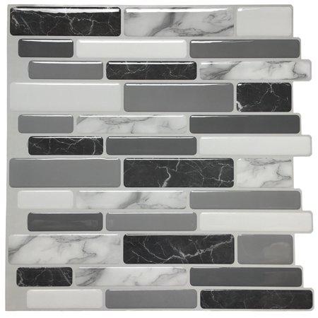 Art3d 6-Pack Marble Peel and Stick Backsplash Tiles 12