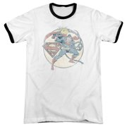 Dco Retro Superman Iron On Mens Adult Heather Ringer Shirt