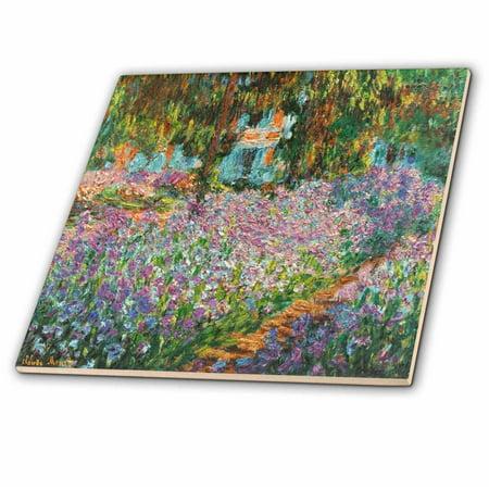 - 3dRose Print of Monet Painting Irises In Garden - Ceramic Tile, 8-inch