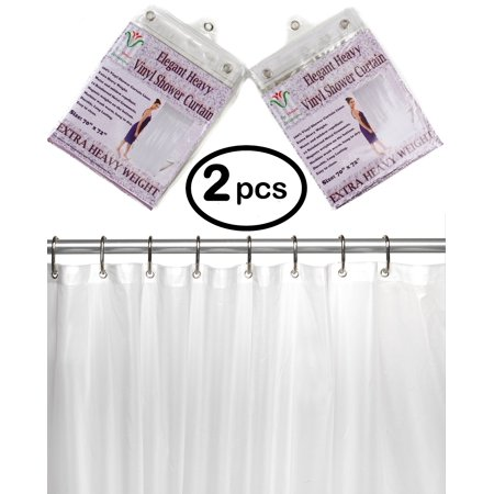 Venice Elegant Home Heavy Duty Vinyl Shower Curtain Liner With 12 Metal Grommets 2 Pack DPC Clear