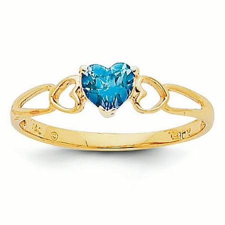 14K Gold 5 MM Blue Topaz December Birthstone Heart Ring, Size 7