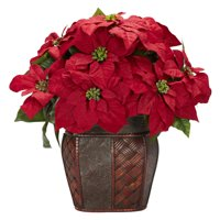 Nearly Natural Poinsettia with Decorative Vase Silk Arrangement, Red