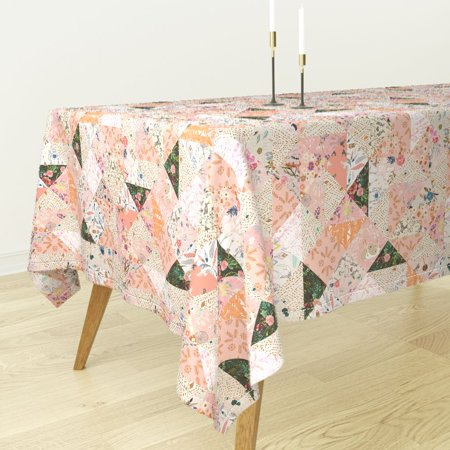 Girl Apricot - Tablecloth Floral Boho Girl Nursery Cheater Apricot Feather Cotton Sateen