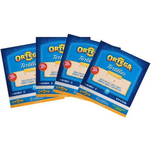 Ortega Flour Tortillas, 10 count, 14.3 oz (Pack of 4)