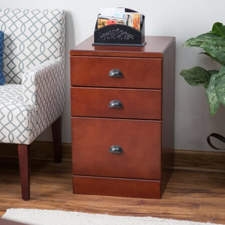 Cherry Vintage Cabinet (Belham Living Cambridge 3-Drawer Wood File Cabinet - Rich Cherry )