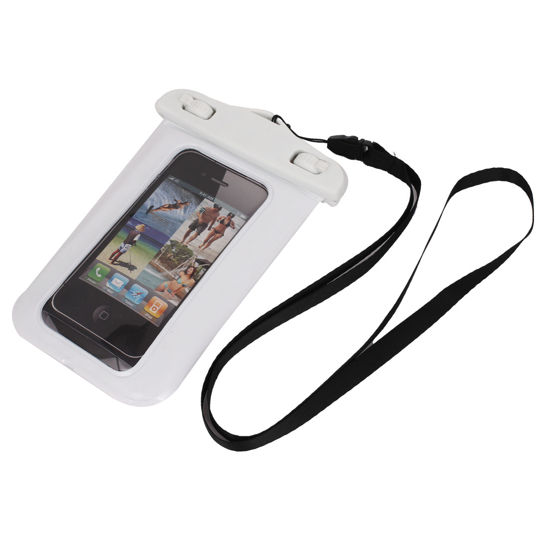 Unique Bargains Waterproof Case Dry Bag Cover Skin Pouch White + Neck Strap for Cell Phone