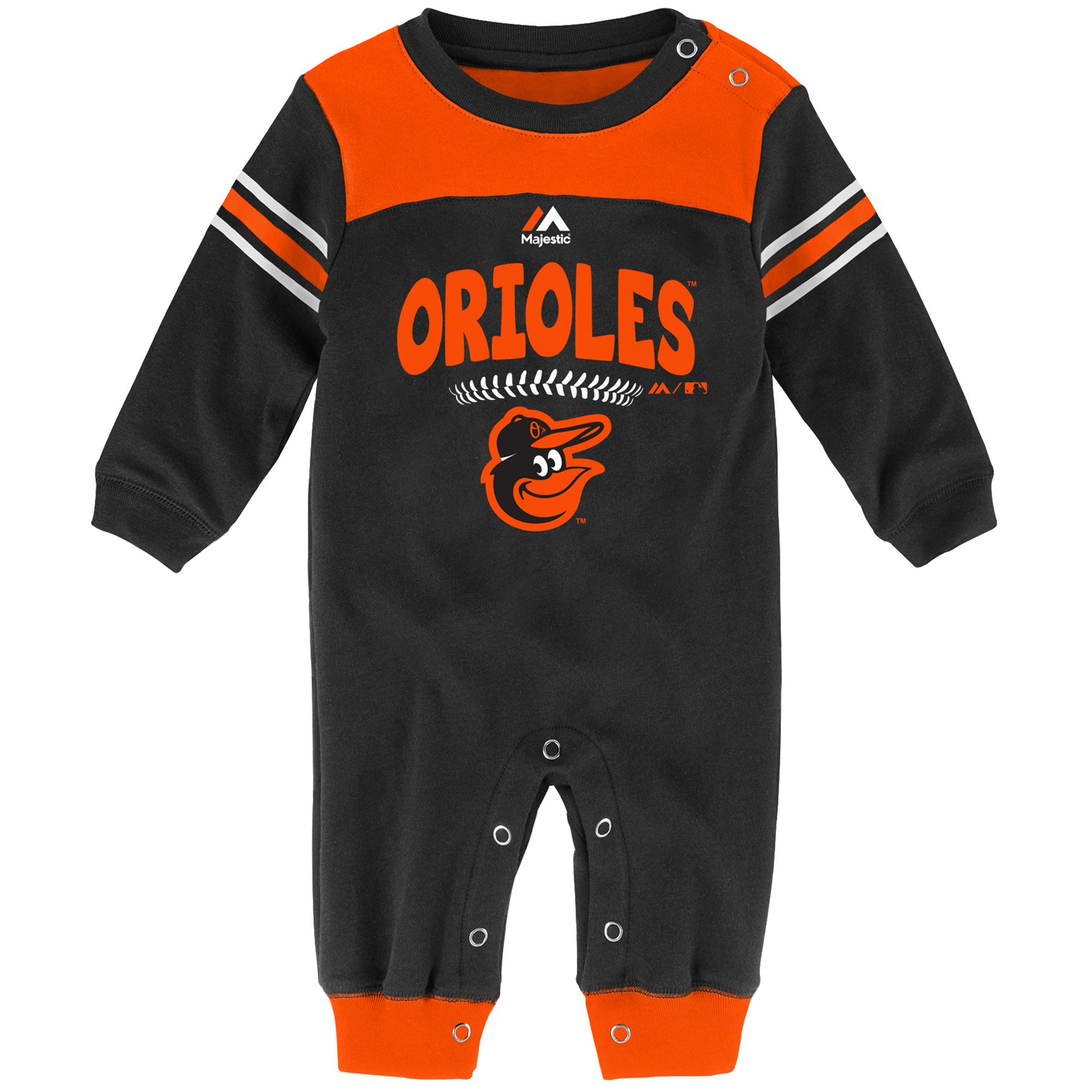 Baltimore Orioles Newborn and Infant Second Base Coverall Romper Black by Outerstuff