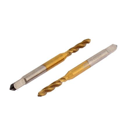 M3 x 0.5 Screw Flute Ti Coated Spiral Point Plug Tap 2Pcs