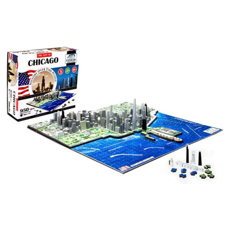 4D Cityscape Chicago History Time Puzzle, 950+ Pieces