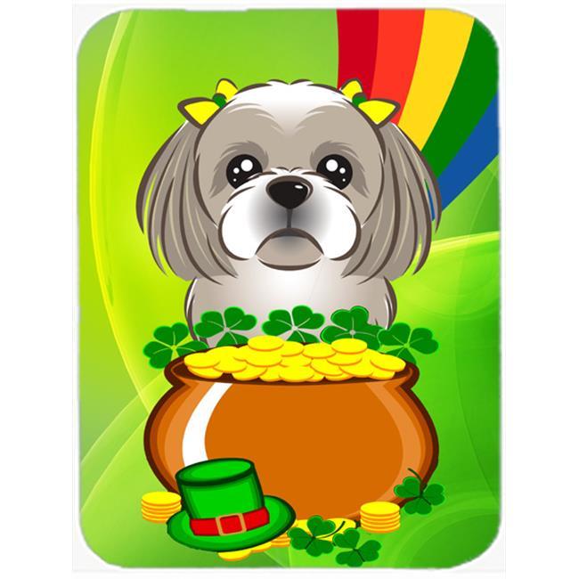 Gray Silver Shih Tzu St. Patricks Day Mouse Pad, Hot Pad or Trivet