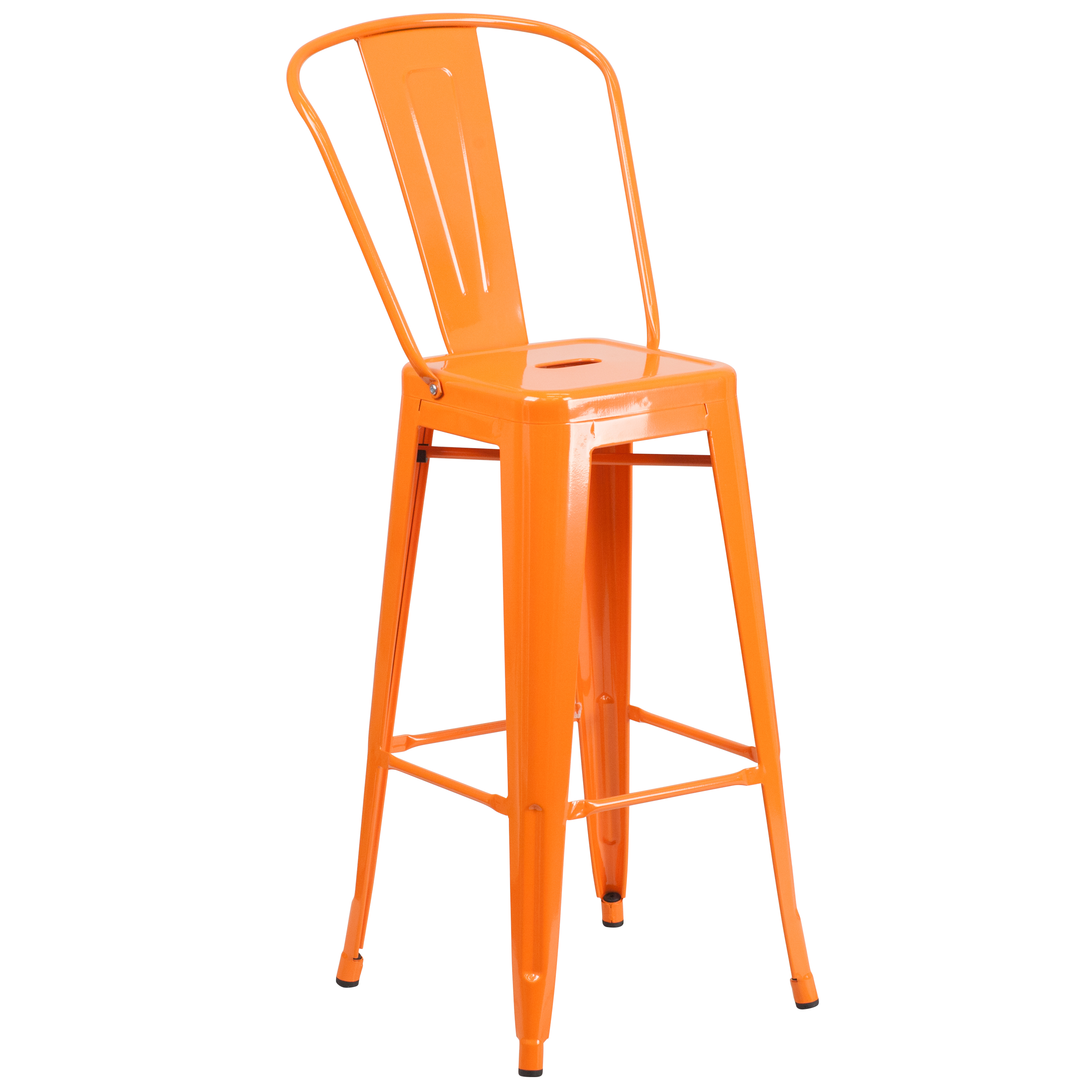 """Flash Furniture 30"""" High Metal Indoor-Outdoor Barstool with Back, Multiple Colors"""