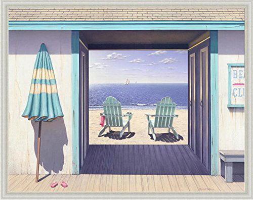 buyartforless FRAMED Beach Club by Daniel Pollera 28x22 Coastal Art Print Poster Adirondack Chairs Beach Ocean Scene... by buyartforless