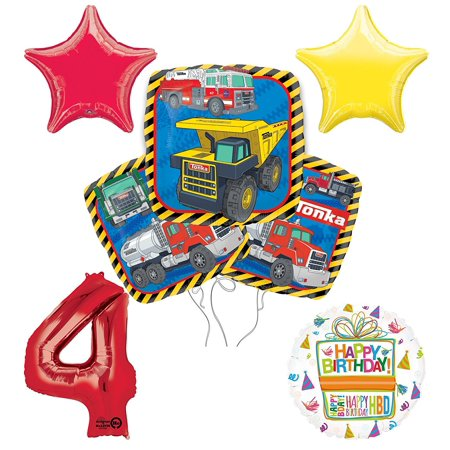 Tonka Truck 4th Birthday Party Supplies and Balloon Decoration Bouquet Kit - Tonka Truck Party Supplies