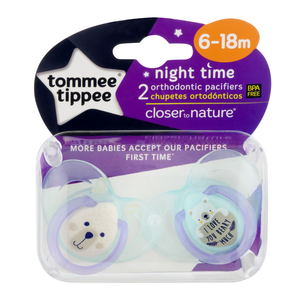 Tommee Tippee Night Time Orthodontic Pacifiers, 6-18 Months - 2 Counts