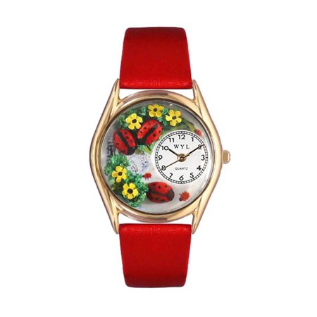 Bug Watch - Whimsical Watches Women's C1210004 Classic Gold Ladybugs Red Leather And Goldtone Watch