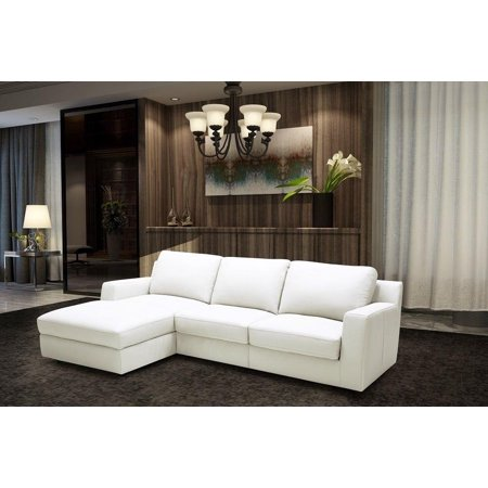 J&M Alexis Modern White Premium Italian Leather Sectional ...