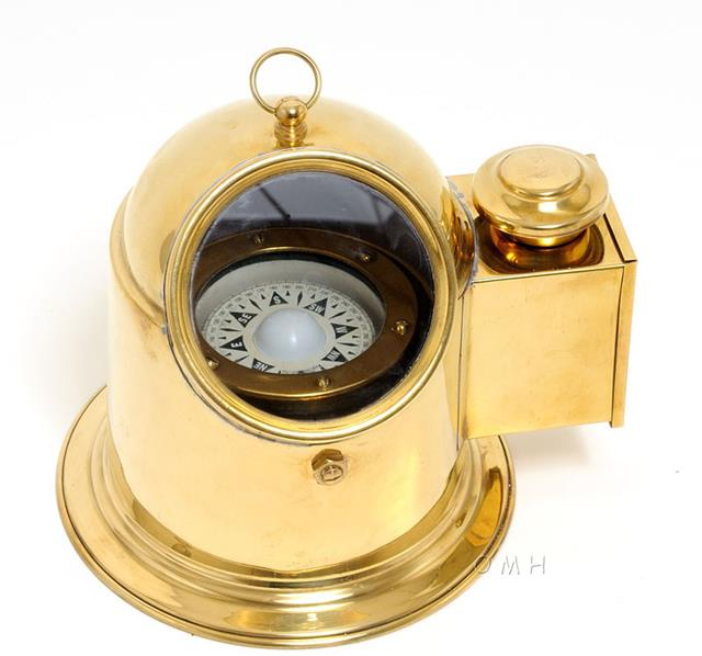 Compass BINNACLE YEW Nautical Golden Glow Gold Solid Brass Glass Window N OM-112 by Overstock