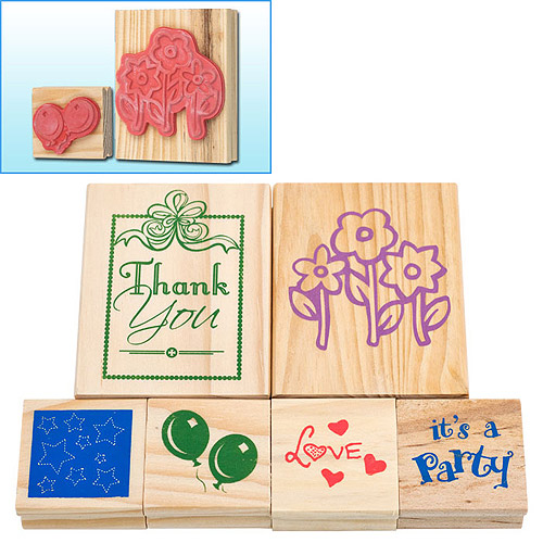 Wood Mounted Rubber Stamp Set, 6ct