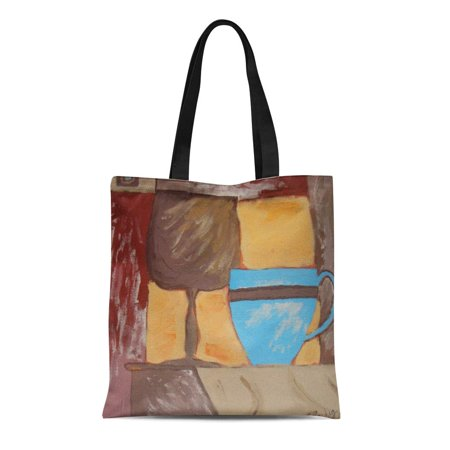 POGLIP Canvas Tote Bag Blue Cup Series Painting Brown Terra Cotta Breakfast Goblet Reusable Handbag Shoulder Grocery Shopping Bags - image 1 de 1