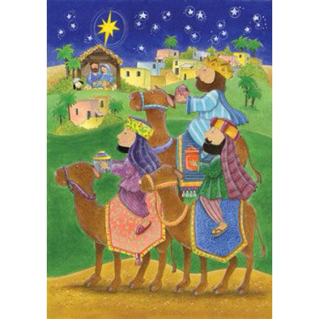 Three Magi Greeting Card Advent Calendar, 24 Advent Windows on the Front By Vermont Christmas Company Advent Calendar Card