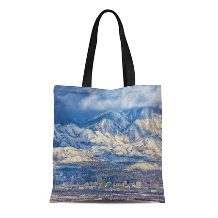 ASHLEIGH Canvas Tote Bag Zoomed in View of Downtown Salt Lake City Utah Durable Reusable Shopping Shoulder Grocery Bag