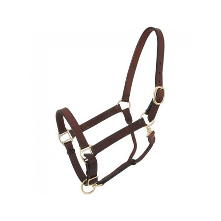 Tough-1 Halter Churchill Stable Snap Leather Brass Draft Brown 44-2036