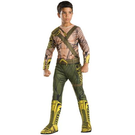 Child's Boys Batman V Superman Dawn Of Justice Aquaman Jumpsuit Costume (Aquaman Kids Costume)