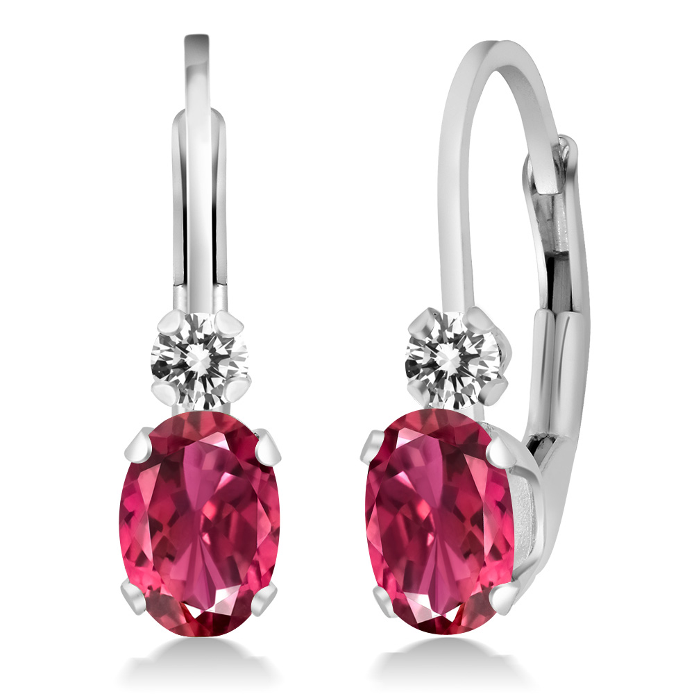 0.83 Ct Oval Pink Tourmaline AAA White Diamond 925 Sterling Silver Earrings by