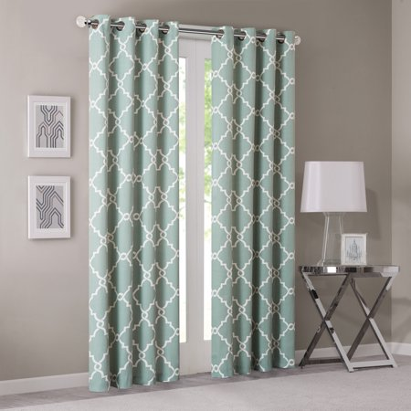 "108""x50"" Sereno Fretwork Print Light Filtering Curtain Panel Green"