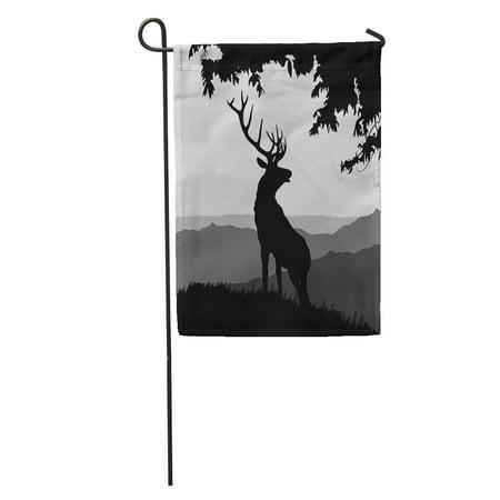 LADDKE Moose Monotonic of Elk Silhouette in The Natural Environment on Landscape Deer Garden Flag Decorative Flag House Banner 12x18 inch