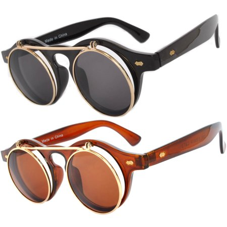 407c834960 OWL - Flip Up Steampunk Vintage Retro Round Circle Gothic Hippie Colored  Plastic Frame Sunglasses Colored Lens OWL (2 Pack) - Walmart.com