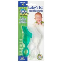 Baby's 1st Toothbrush 2 Count, Chewable Silicone Toothbrush For Baby, Infants, & Kids to Brush Teeth as Baby Chews Soft Bristles Clean Budding Gums and Baby Teeth, Chill for Teething, GREEN-CLEAR