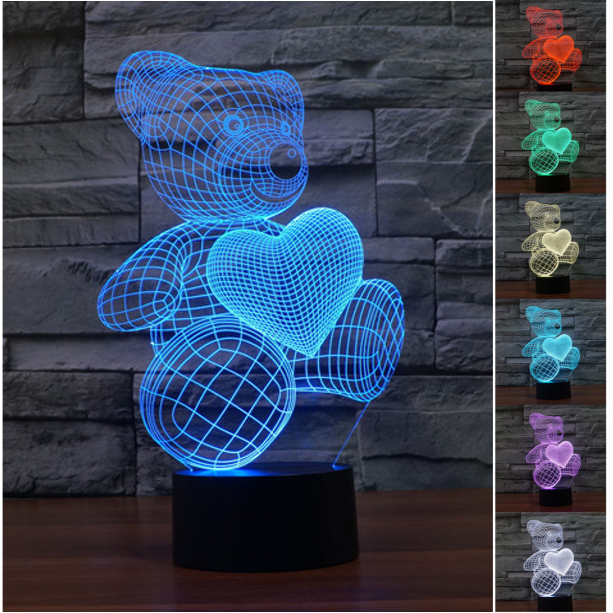 3D 7 Colors Change LED USB Touch Table Night Light Lamp- Little Bear Love Heart For Girls Bedroom