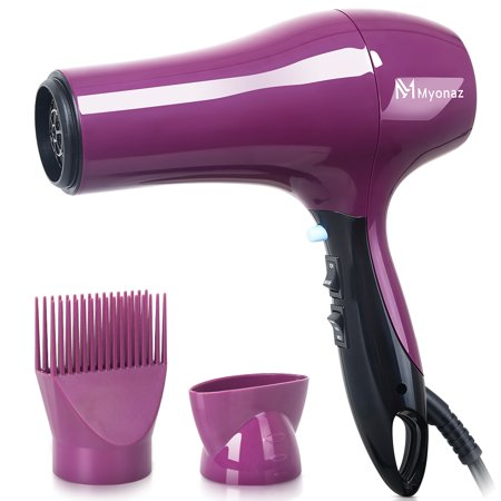 MYONAZ 1875 Watt Hair Dryer with Straightening Comb and Air Concentrator/Powerful and Quiet Hair Dryer with Nozzle - Create Salon Volume at Home up to 80% Faster with Less Frizz
