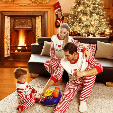 Bobora Christmas Family Matching Pajamas Set I Love Santa Adult Dad Mum Kid Sleepwear Nightwear Asian Size