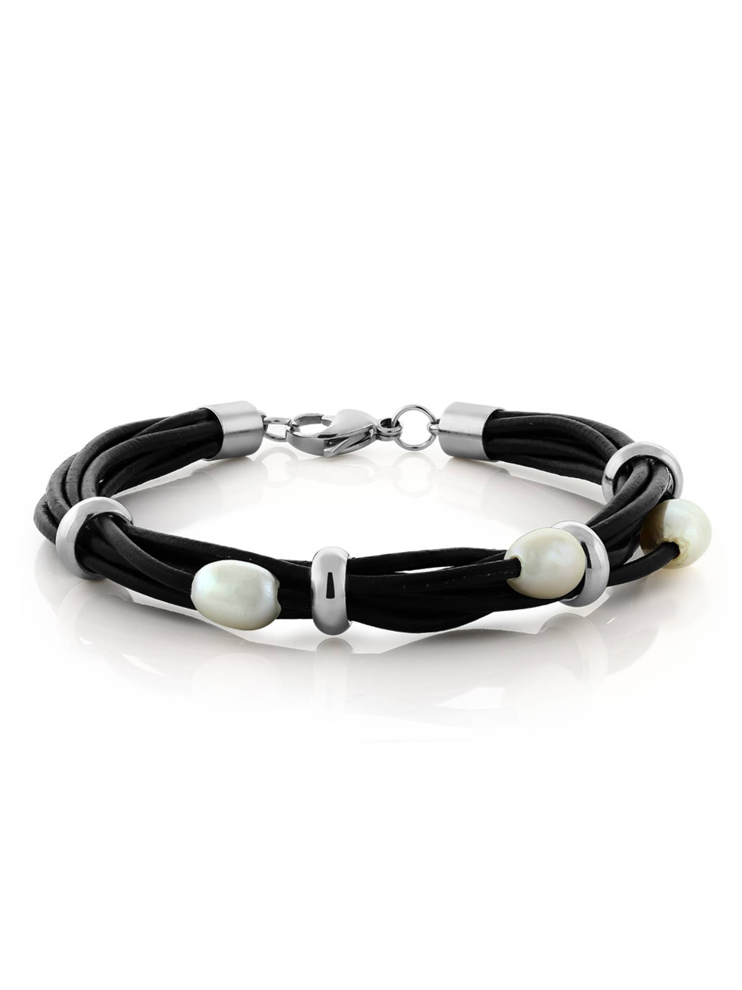 Bolo Leather Braided Cultured Freshwater Pearl Bracelet