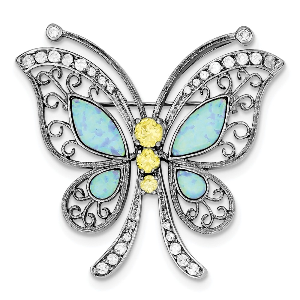 925 Sterling Silver Rhodium-plated Created Opal with Yellow and Clear Cubic Zirconia Butterfly Pin by Diamond2Deal