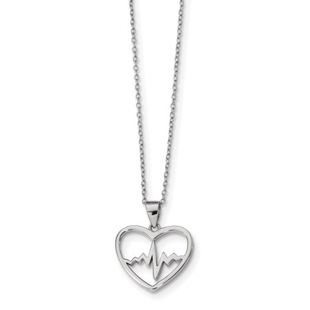 2 Extension Necklace - 925 Sterling Silver Heartbeat In Heart 2 Inch Extension Chain Necklace Pendant Charm S/love Gifts For Women For Her