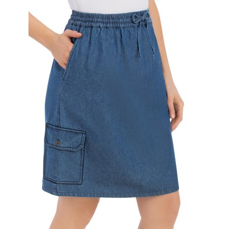 Women's Denim Skort With Cargo Pocket, X-Large, Denim - Embroidered Denim Skort