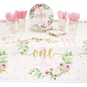 Serves 24 Floral Party Supplies, 145pcs Disposable Paper Dinner Plates, Napkins, Cups, Cutlery and Tablecloth Set for Girl 1st First Birthday, Baby Shower Decorations