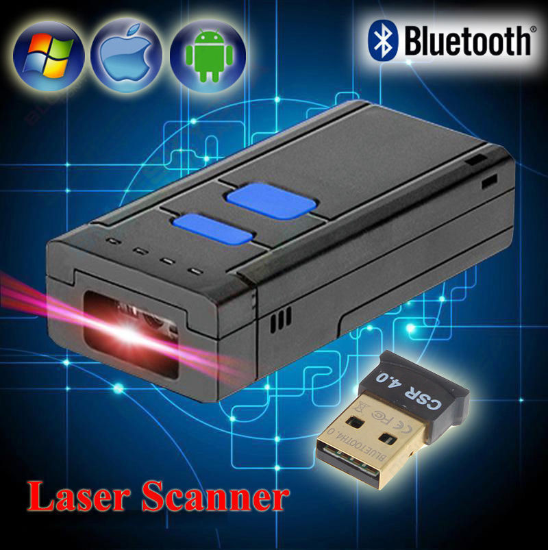 Mini Portable Wireless Bluetooth Barcode Laser Scanner for Apple iOS Android