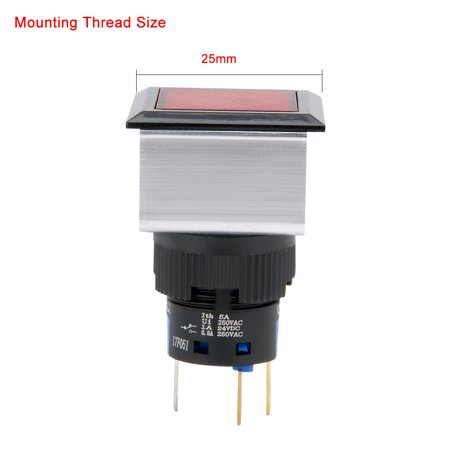 2pcs Momentary Push Button Switch 16mm Mounting Dia SPDT Square w 24V Red LED - image 3 of 7