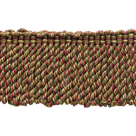 18 Yard Package - 3 Inch Long Claret, Camel Brown, Branch Green, Black, Brown, Mocha Bullion Fringe Trim|Style# BFDK3 (11829)|Color: Tuscany - N40 (54 Ft / 16.5 Meters) (18 Tuscany Appliance)
