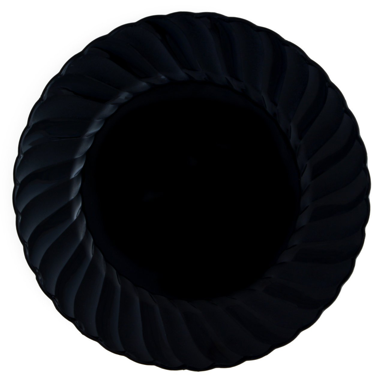 """Kaya Collection - Disposable Black Plastic Round 9"""" Buffet Plates - 2 Pack (36 Plates)"""