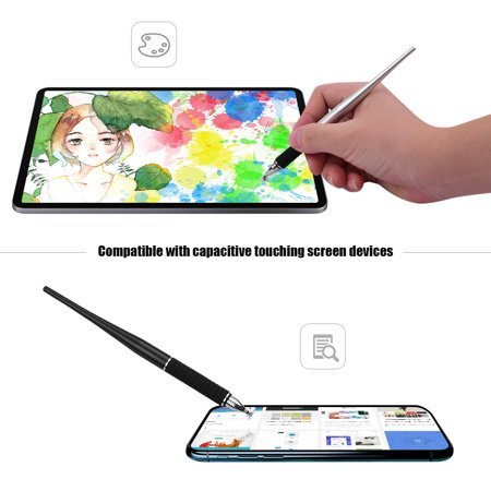 2-in-1 Capacitive Stylus Pen Set High Precision with Fiber and Disc Metal TouchScreen Pen for Cell Phone Tablet Laptop Writing Drawing